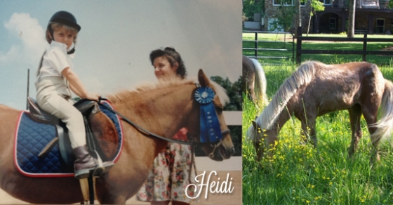 Heidi in her youth and enjoying retirement in her twenties
