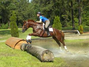 Ali and Baron jumping out over the log jump last summer