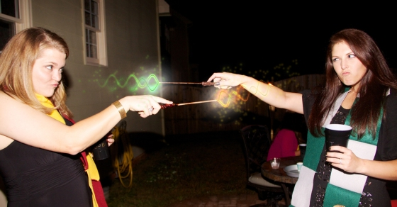 The bride and I geeking out at her HP-themed engagement party!