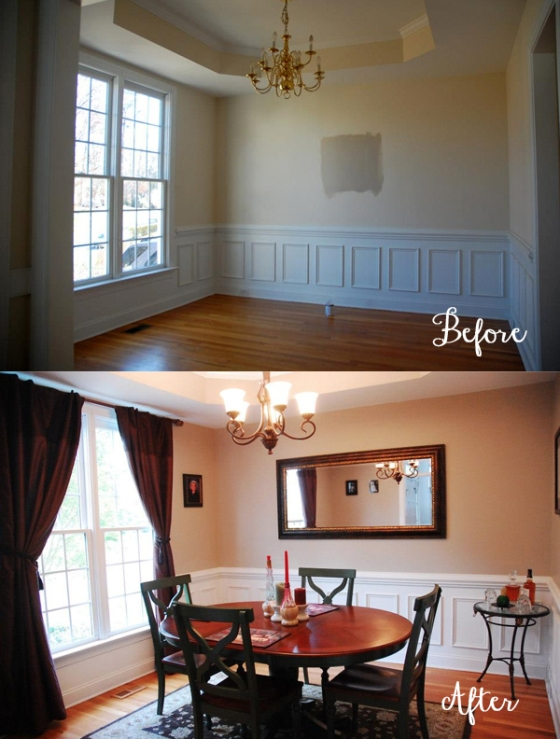 Dining Room with paint and chandelier