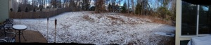 Panoramic of the backyard in it's Carolina snow glory