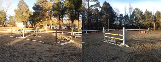 One stride (second element in an oxer) and a couple other 3' verticals