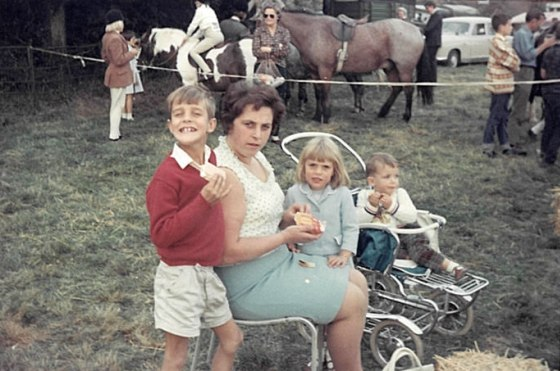 Starting young (middle child) at a horse show in England