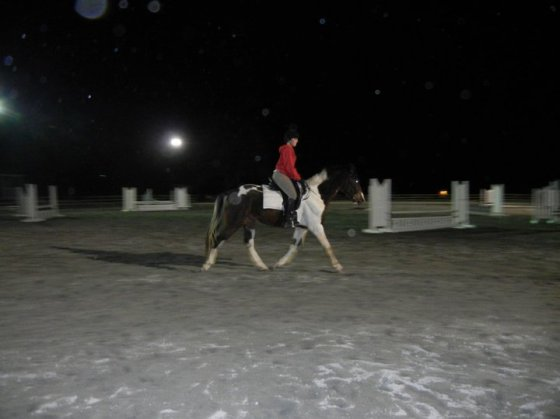 First ride on the baby horse in the dark