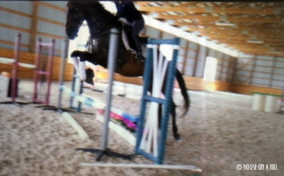 Getting jumped out of the tack over an oxer
